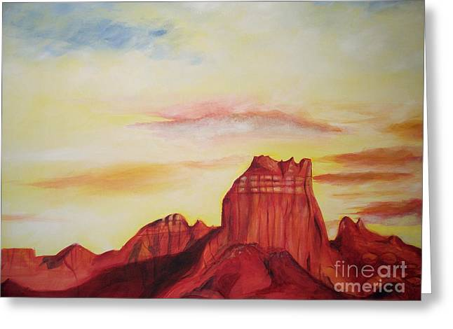 Greeting Card featuring the painting  Sedona Az by Eric  Schiabor