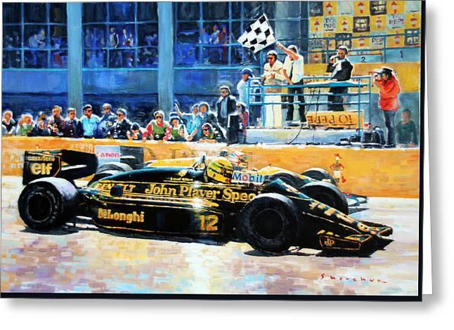 Senna Vs Mansell F1 Spanish Gp 1986 Greeting Card by Yuriy Shevchuk