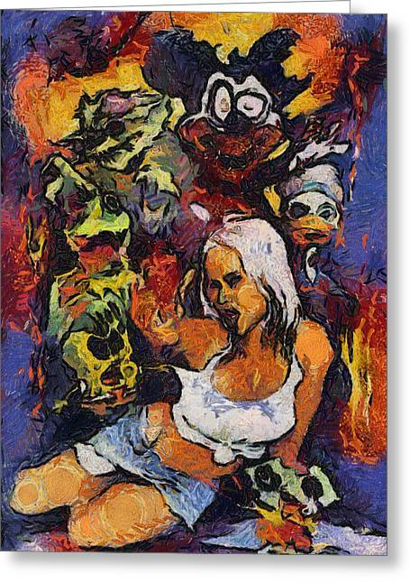 Sexy Pinup Zombie Painting Greeting Card by Teara Na