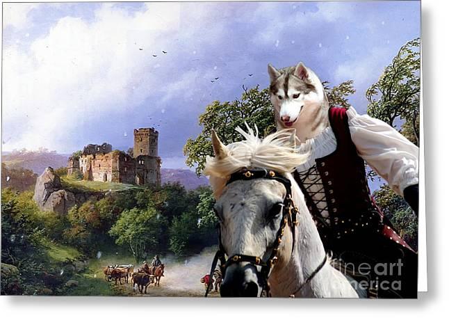 Siberian Husky Art Canvas Prin Greeting Card by Sandra Sij