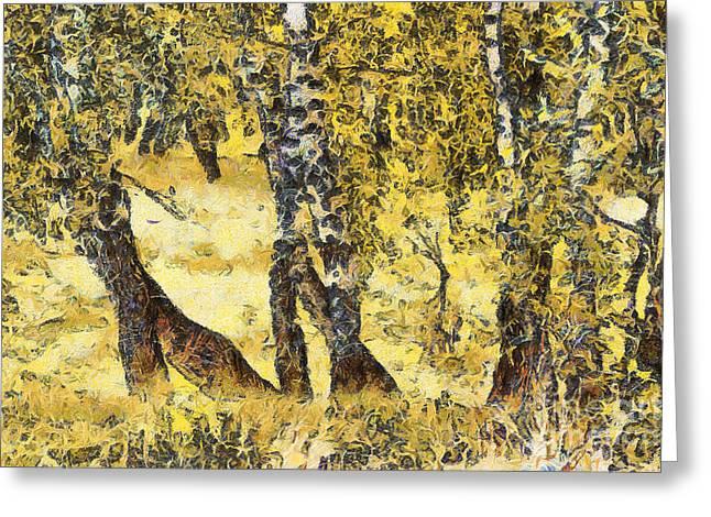 Silver Birch Greeting Card by Odon Czintos