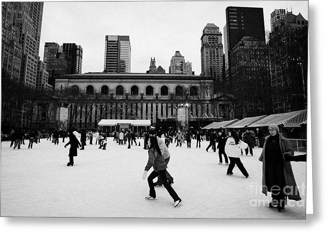 Skating On The Ice At Bryant Park Ice Skating Rink New York City  Greeting Card