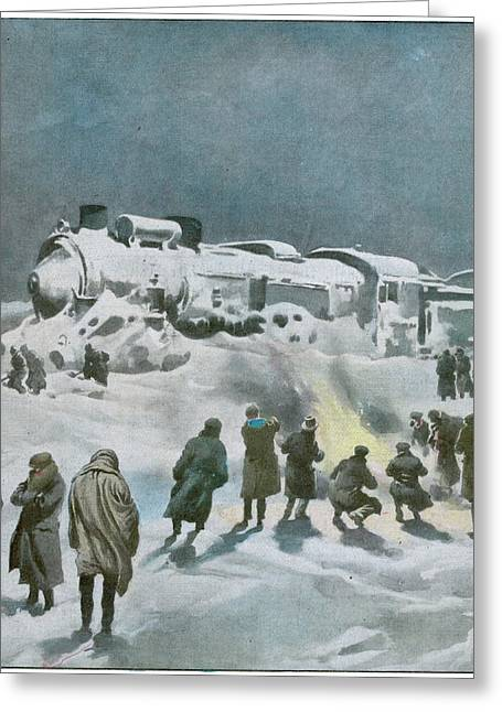Snow Halts The Train On The Greeting Card by Mary Evans Picture Library