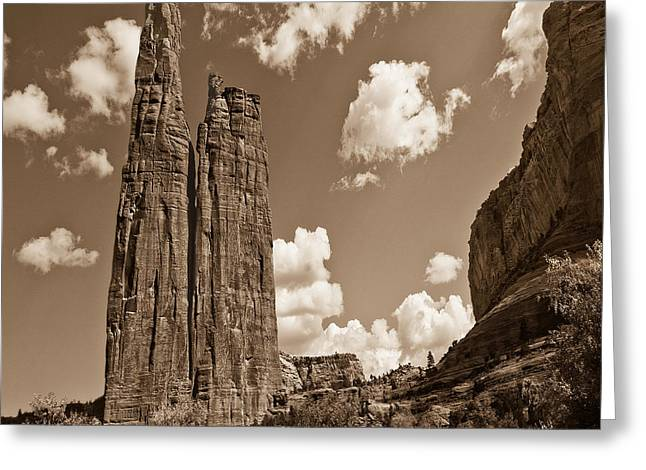 Spider Rock Canyon De Chelly Greeting Card by Bob and Nadine Johnston