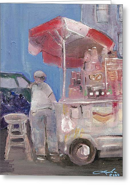 Stand On The Corner Greeting Card by Leela Payne
