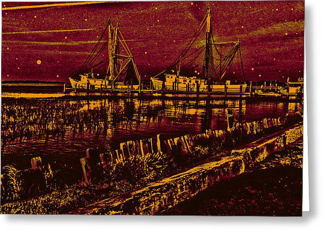 Stary Night Time At The Docks Greeting Card