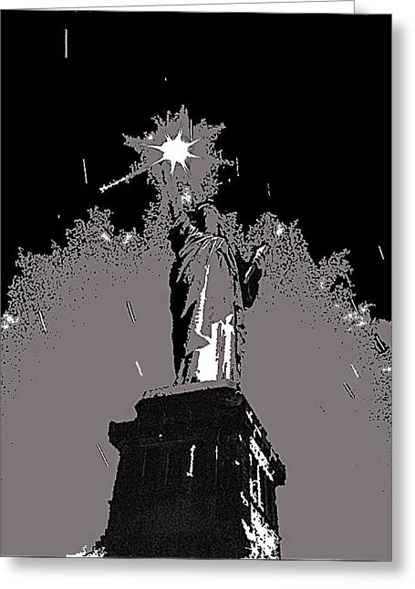 Statue Of Liberty Power Outage 1942-2014 Greeting Card by David Lee Guss