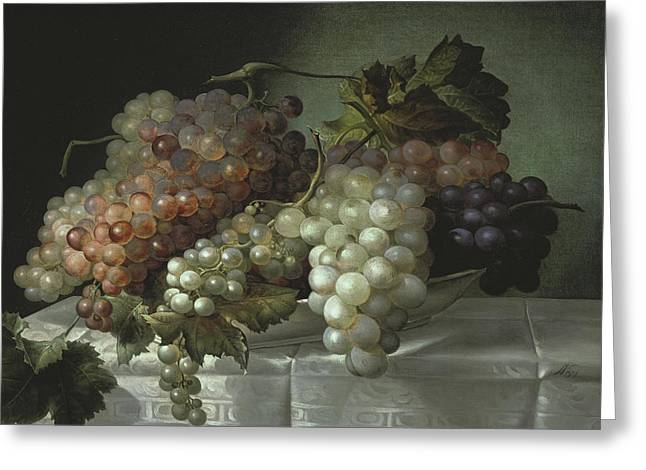 Still Life With Grapes In A Porcelain Dish Greeting Card by Joseph Nigg