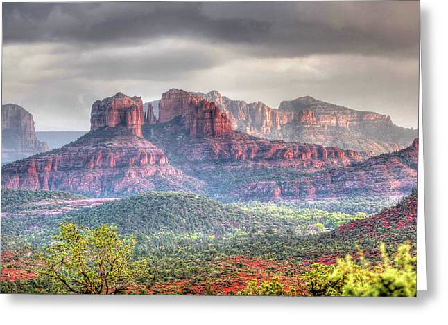Storm Clouds Red Rocks Greeting Card