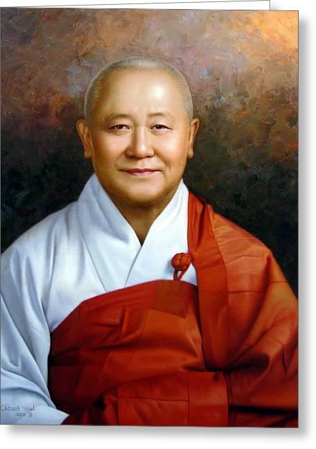 Sudeoksa Monks Bill Greeting Card by Yoo Choong Yeul