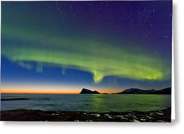Sunset And Aurora Oval Greeting Card by Frank Olsen