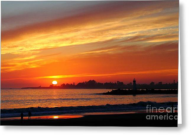 Sunset At Santa Cruz Harbor 1 Greeting Card