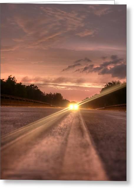 Sunset High Beams 2 Greeting Card by David Paul Murray