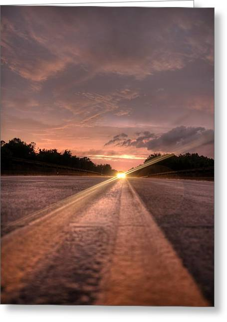 Sunset High Beams Greeting Card by David Paul Murray