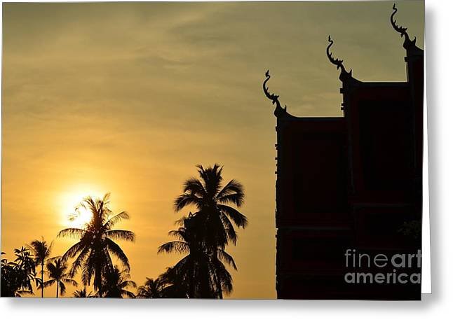 Sunset In The Tempel Greeting Card by Michelle Meenawong