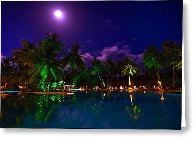 Super Full Moon At The Resort Greeting Card by Jenny Rainbow