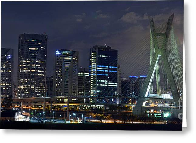 Supermoon In Sao Paulo - Brazil Skyline Greeting Card
