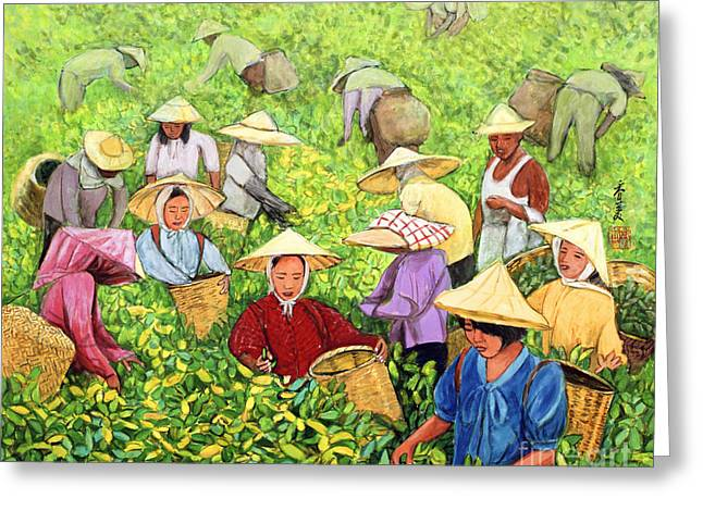 Tea Picking Girl Greeting Card by Komi Chen