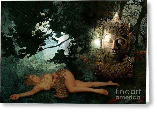 The Buddha  Tempation Greeting Card by Rosa Cobos