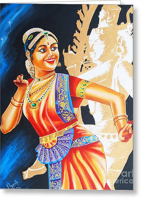 Greeting Card featuring the painting  The Dance Divine by Ragunath Venkatraman