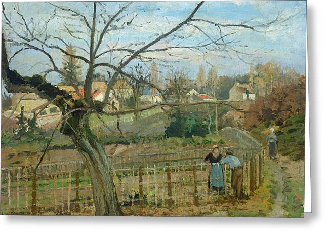 The Fence Greeting Card by Camille Pissarro