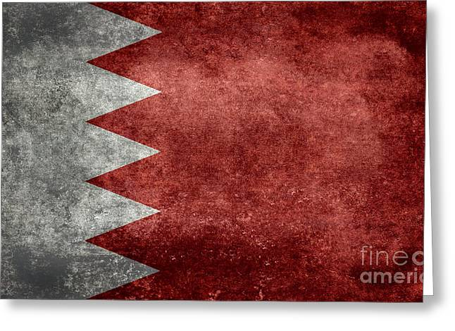 The Flag Of The Kingdom Of Bahrain Vintage Version Greeting Card by Bruce Stanfield