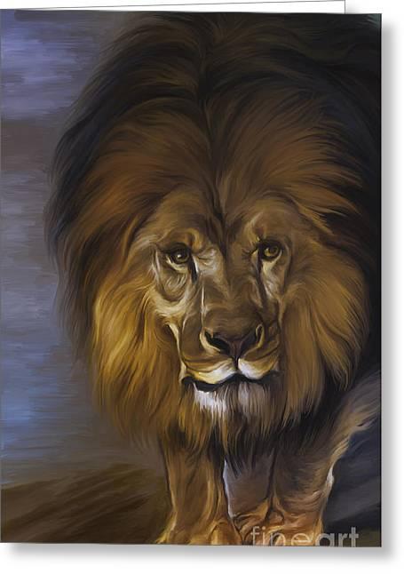 The Lion King Greeting Card by Andrzej Szczerski