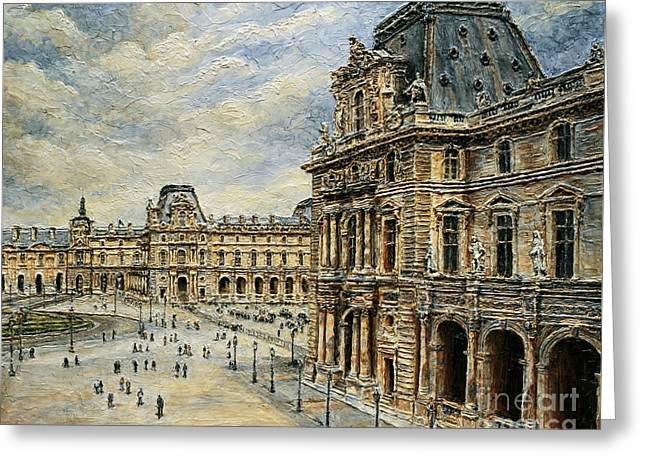 The Louvre Museum Greeting Card by Joey Agbayani
