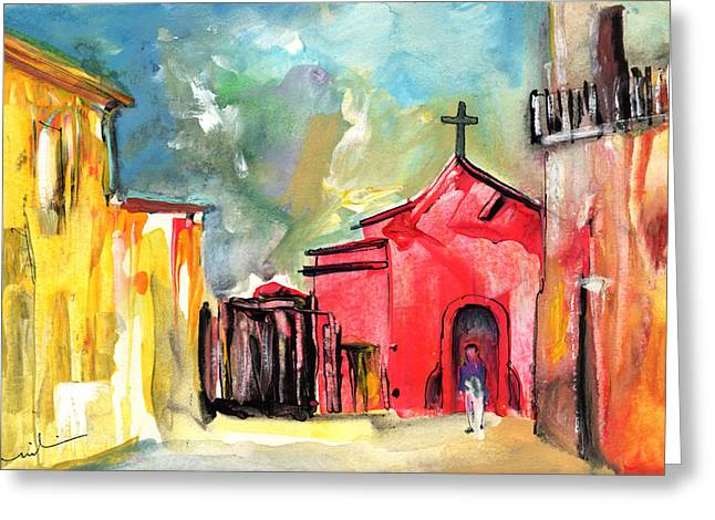 The Red Church In The South Of France Greeting Card by Miki De Goodaboom