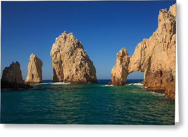 The Sea Arch El Arco De Cabo San Lucas Greeting Card by Allan Levin