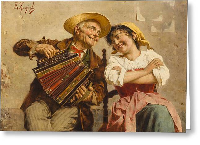 The Serenade Greeting Card by Eugenio Zampighi