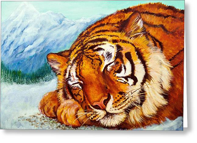 Greeting Card featuring the painting  Tiger Sleeping In Snow by Bob and Nadine Johnston