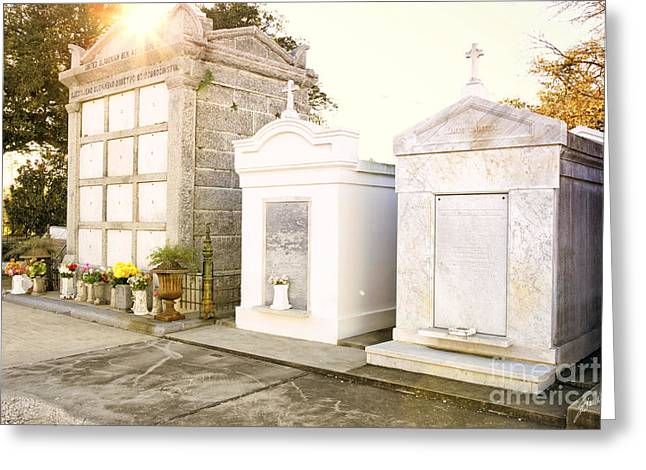 Greeting Card featuring the photograph   Tombstones  by Erika Weber