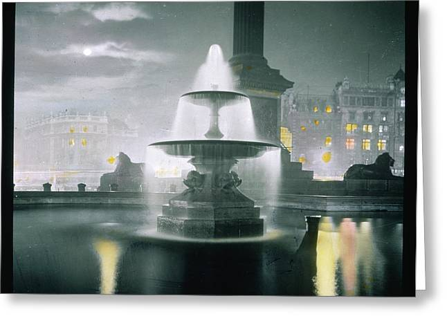 Trafalgar Square At Night  Showing Greeting Card by Mary Evans Picture Library