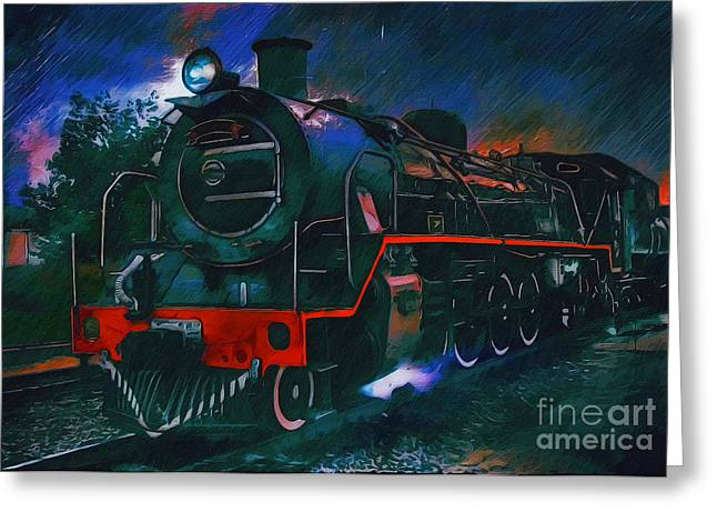 Train Greeting Card by Andrzej Szczerski