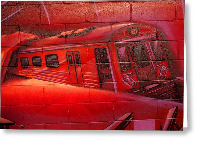 Train On The Wall New York City Greeting Card by Xavier Cardell