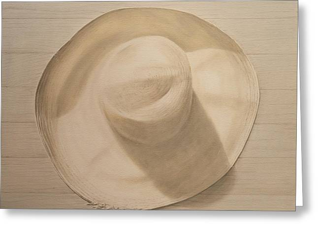 Travelling Hat On Dusty Table Greeting Card