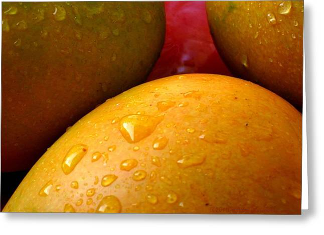 Greeting Card featuring the photograph  Tres Mangoes by Greg Allore