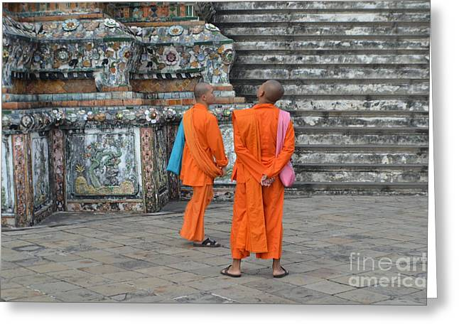 Two Monks Greeting Card by Michelle Meenawong