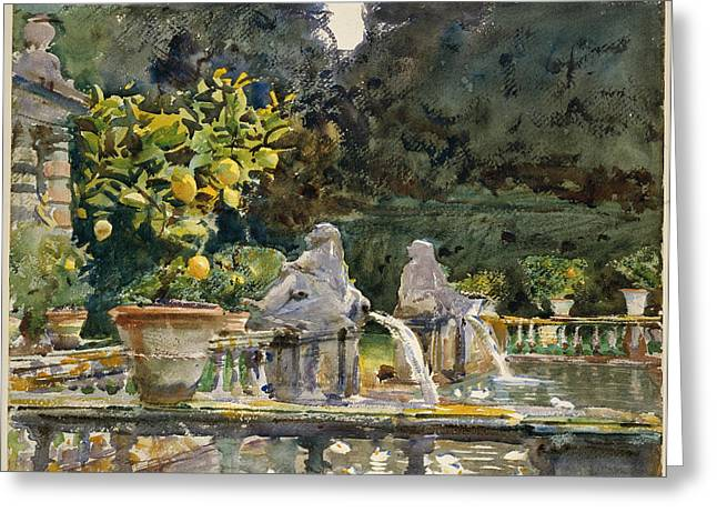 Villa Di Marlia Lucca - A Fountain Greeting Card