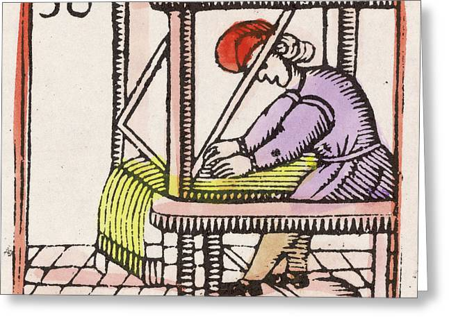 Weaving On A Loom         Date 17th Greeting Card by Mary Evans Picture Library