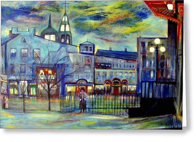 When Night Falls   Quebec City Greeting Card