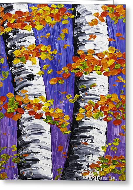 White Birch Trees In Fall On Purple Background Painting Greeting Card