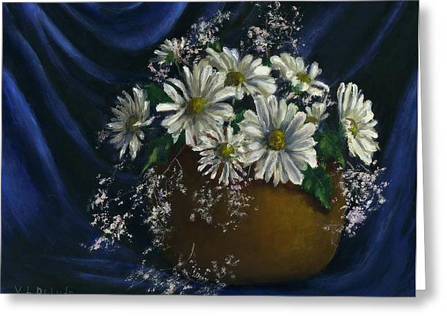 White Daisies In Blue Fabric Still Life Art Greeting Card