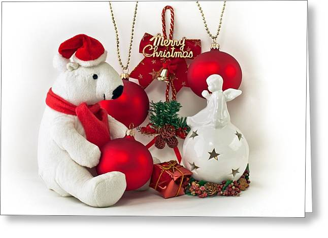 White Teddy Bear And Angel Greeting Card