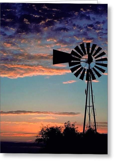 Windmill At Dawn Greeting Card by David and Carol Kelly