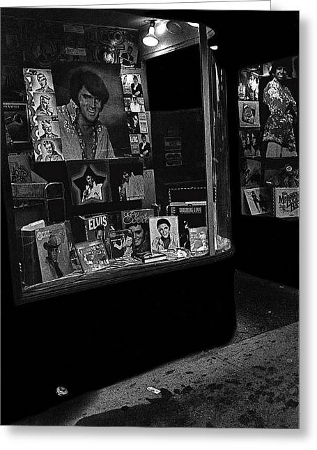 Greeting Card featuring the photograph  Window Display Night Of Elvis Presley's Death Recordland Portland Maine  1977 by David Lee Guss