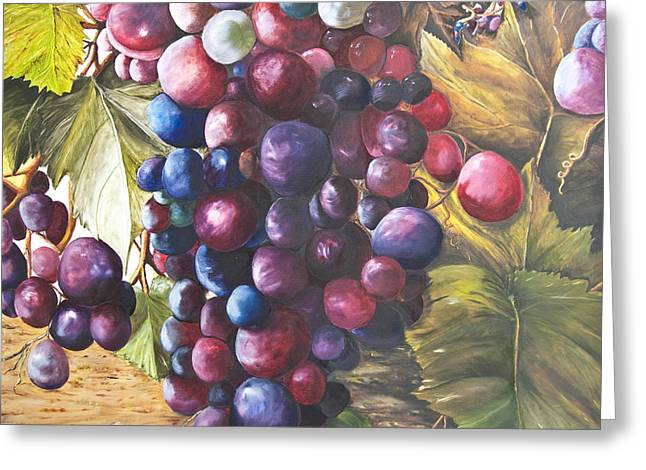 Wine Grapes On A Vine Greeting Card