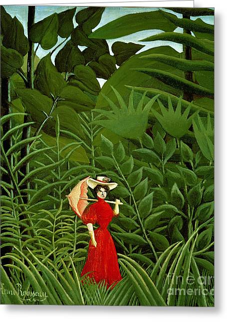 Woman In Red In The Forest Greeting Card