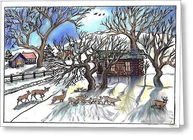 Wyoming Winter Street Scene Greeting Card